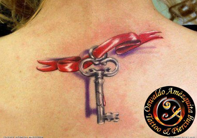realistic-key-tattoo-on-upper-back-with-red-ribbon