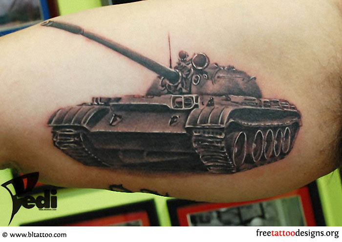 awesome army tank tattoo