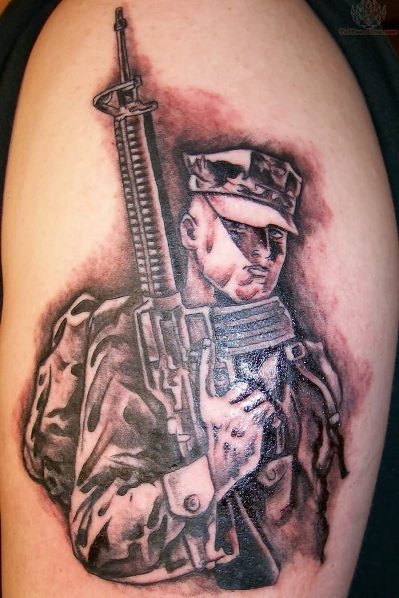 brave soldier army tattoo design