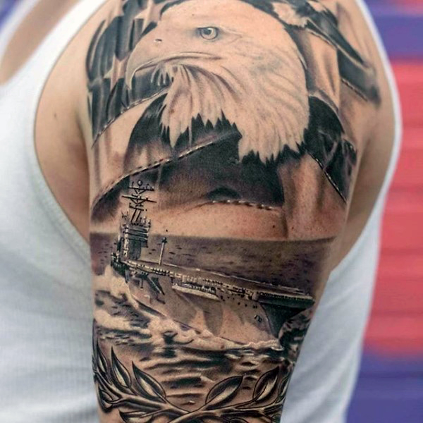 eagle face navel army tattoo design