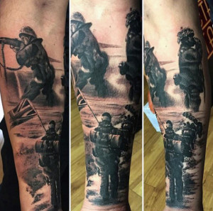 full sleeve army tattoo for men