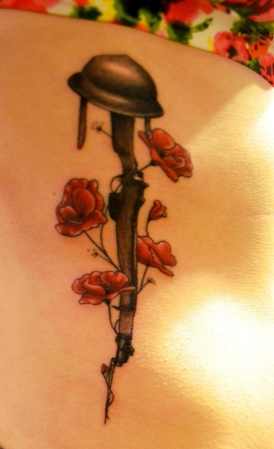 guns and roses with army hat tattoo