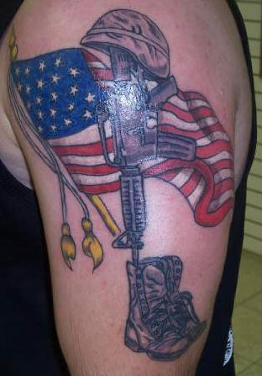 us flag with bravery tattoo