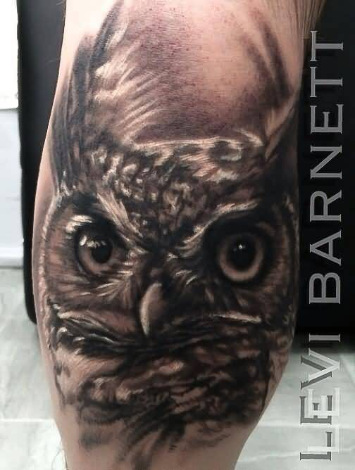 3D Arm Owl Face Tattoo Design By Levi Barnett