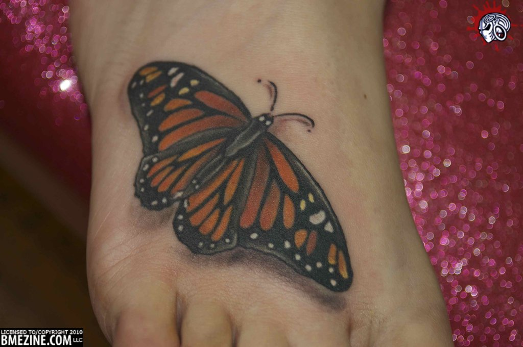 3D Awesome One More Monarch Butterfly Tattoo On Foot