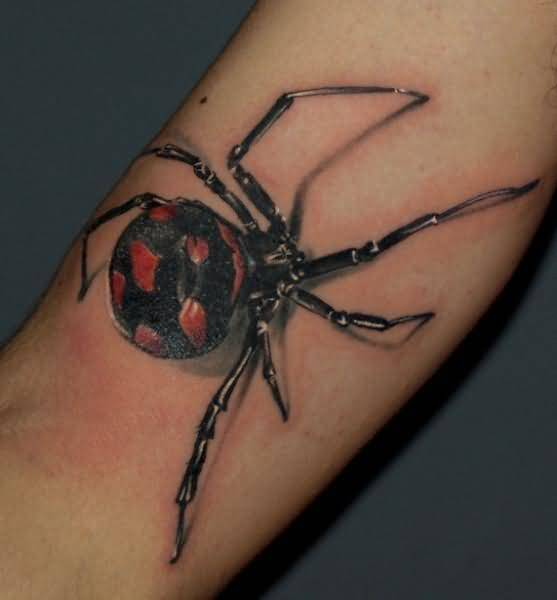 3D Black Widow Amazing Spider Tattoo