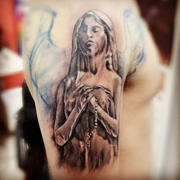 3D Grey Ink Awesome Praying Angel Tattoo On Men Shoulder