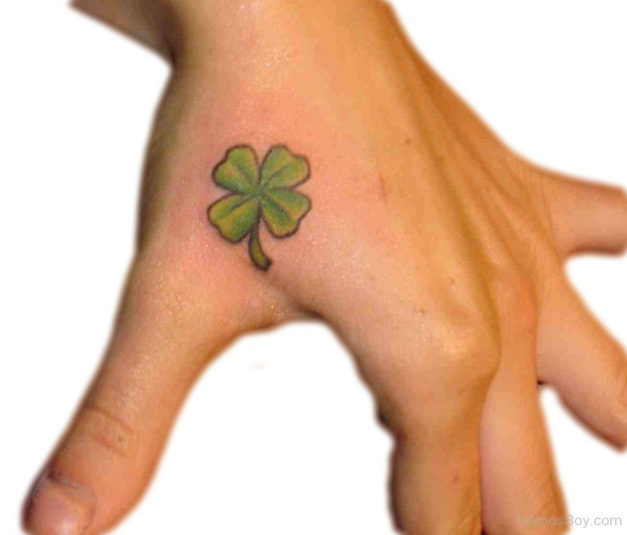 4 Leafs Simple Shamrock Tattoo On Girl Side Hand