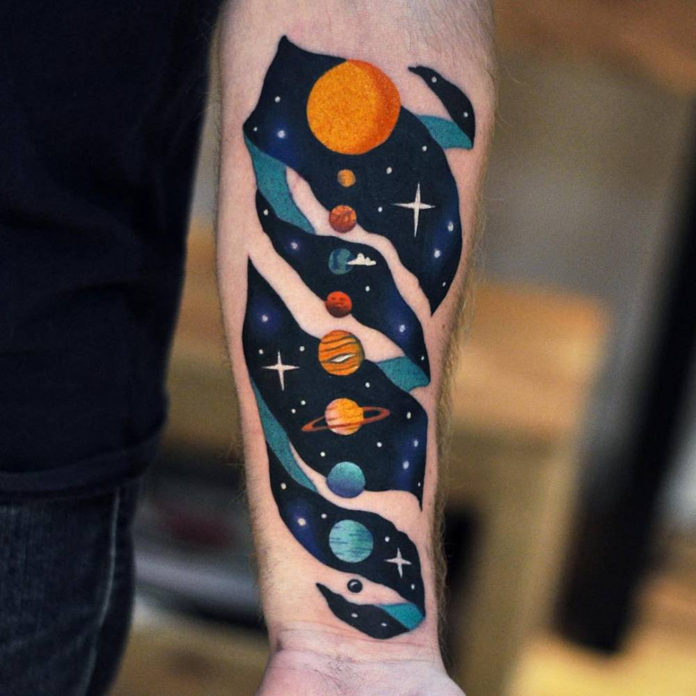 4arm Amazing And Nice Escher Solar System Planets Tattoo Design