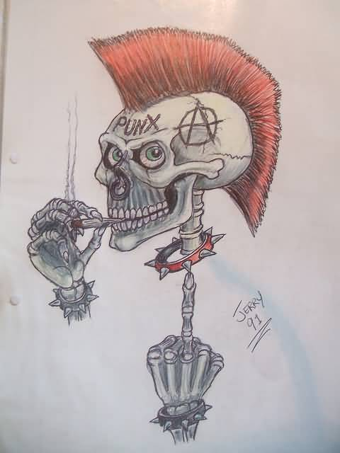 Addicated Punk Drawing Of Skull With Hand