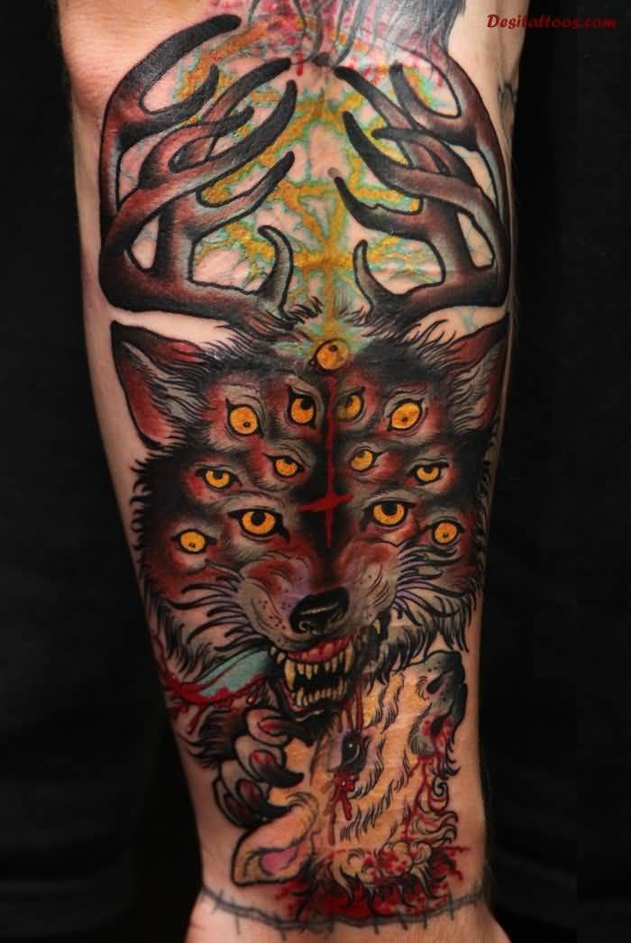 Aggressive Satan Big Horn Wolf Face Tattoo Design Idea Make On Forearm