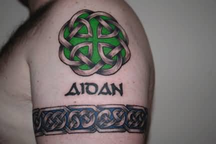 Aidan Name Celtic Shoulder Knot Tattoo For Men