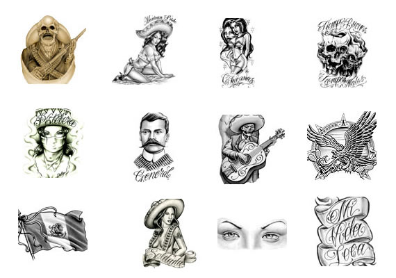 All Latino Men And Girl Faces With Skull Tattoo Stencil