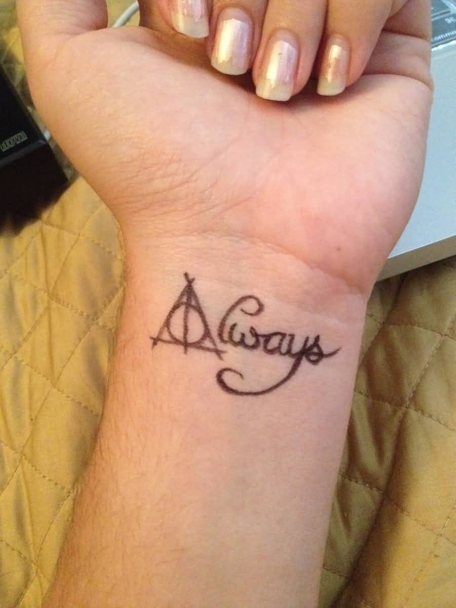 Always Deathly Hallows Tattoo On Wrist