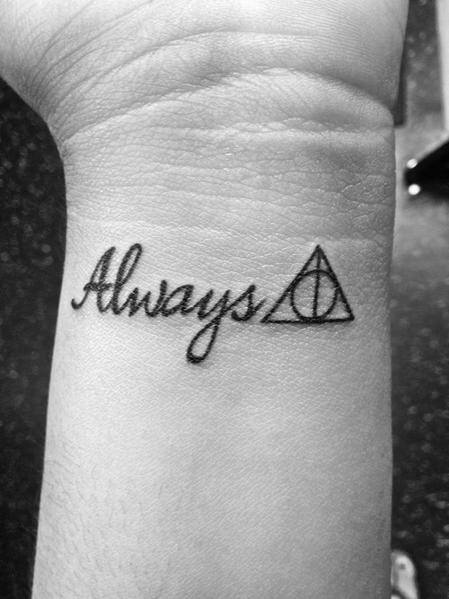 Always Nice Hallows Tattoo On Wrist