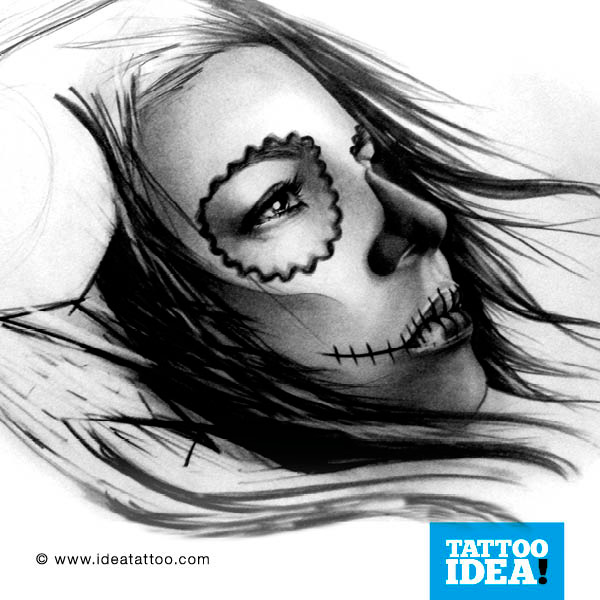 Amazing And Nice Catrina Girl Face Tattoo