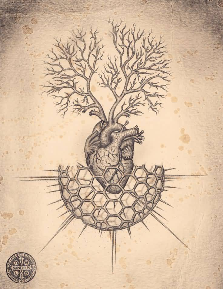 Amazing And Nice Grey Ink Heart Sciecne Tree Of Life Tattoo