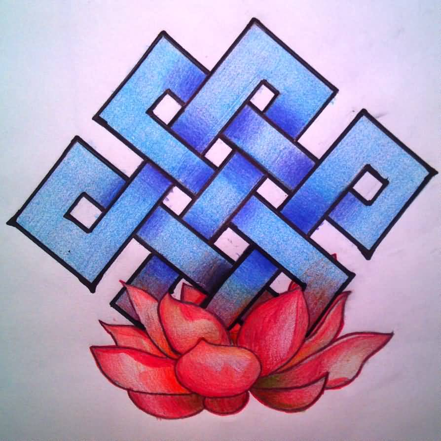 Amazing And Nice Red Lotus With Blue Endless Knot Tattoo Sketch