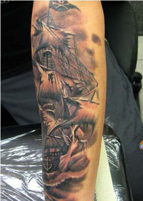 Amazing And Simple Jolly Roger Pirate Ship Tattoo Idea