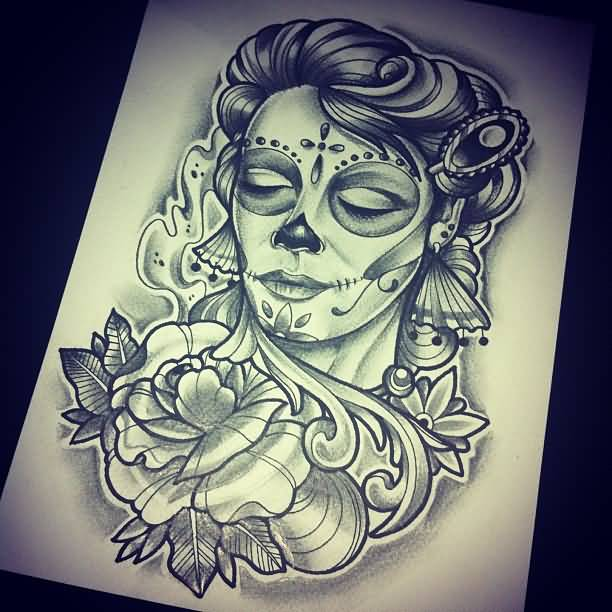 Amazing Close Eyes Nice Stencil Of Catrina Tattoo