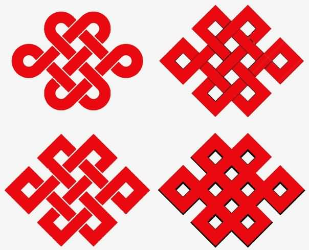 Amazing Collaboration Of Red Ink Nice Endless Knot Tattoo Designs