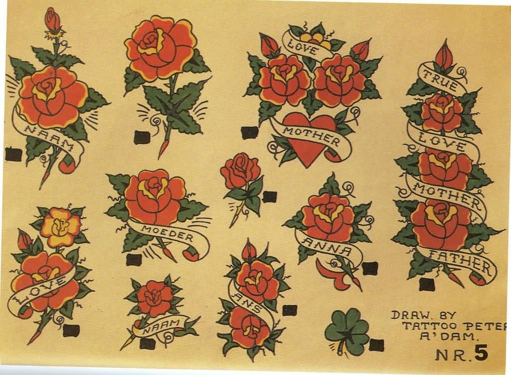 Amazing Collection Of Nice Red Roses Old School Tattoo