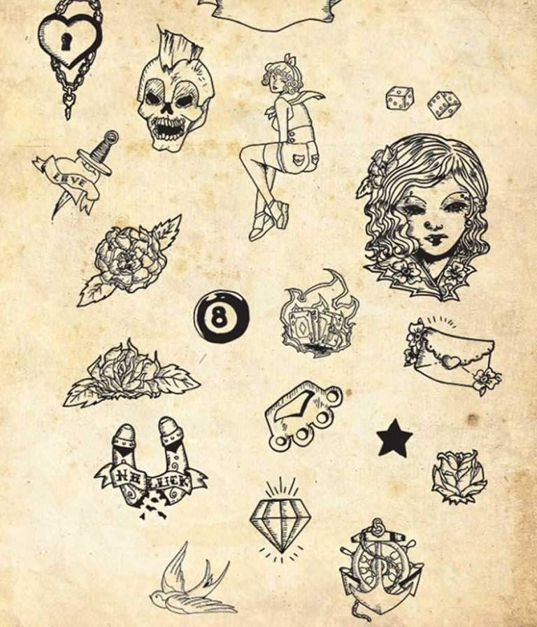 Amazing Design Of Simple Old School Tattoo Design