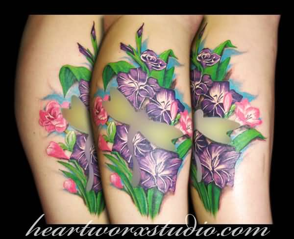 Amazing Dragonfly Gladiolus Flower Colorful Tattoo
