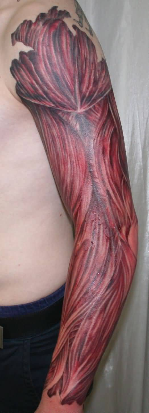 Amazing Full Sleeve Muscles Tattoo Design Idea