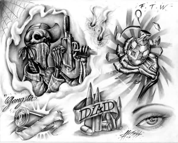 Amazing Gangsta Tattoo Design