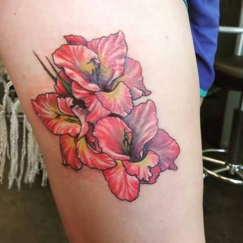 Amazing Gladiolus Flower Tattoo By Natalia Maclean