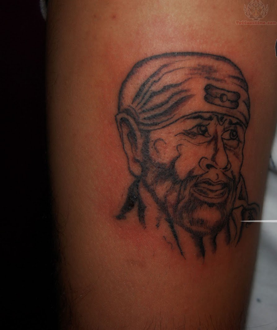 Amazing Look Sai Baba God Face Tattoo