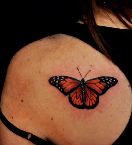 Amazing Monarch Butterfly Tattoo On Upper Back For Girl
