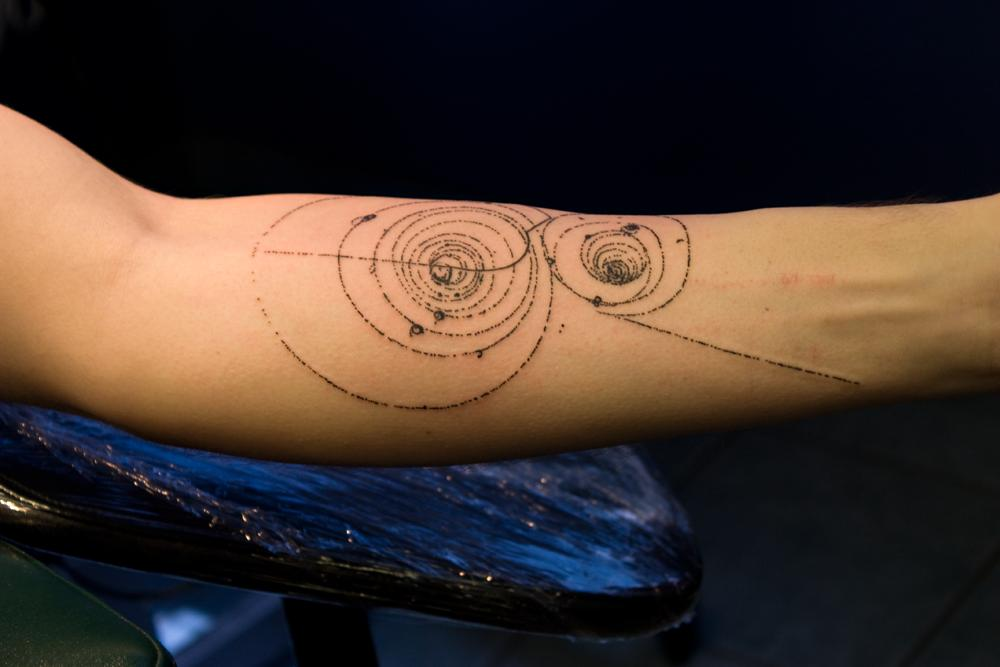 Amazing Nice Forearm Science Circle Tattoo