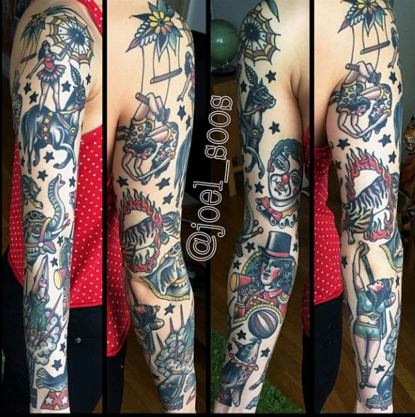 Amazing Old School Circus View Tattoo Design For Full Sleeve