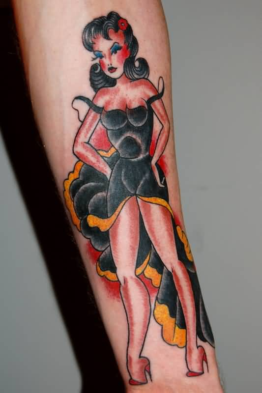 Amazing Pin Up Girl Tattoo Design Idea