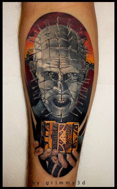 Amazing Pinhead With Cube Tattoo