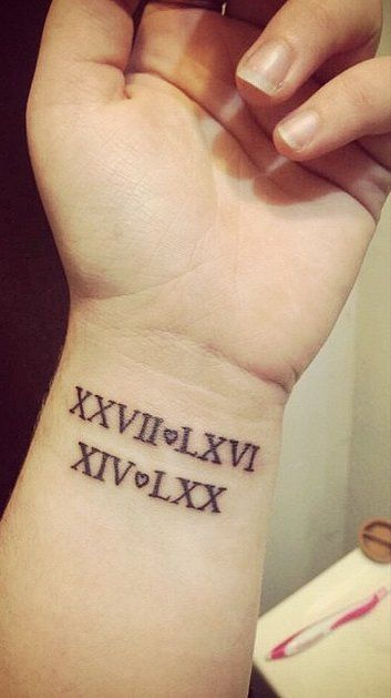 Amazing Roman Numbers Tattoo Design Idea On Wrist