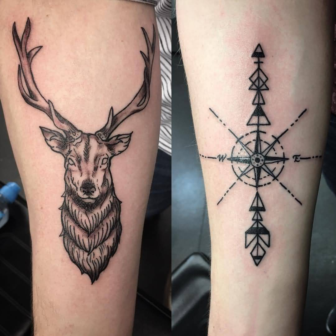 Amazing Scottish Stag With Nice Compass Arrow Tattoo
