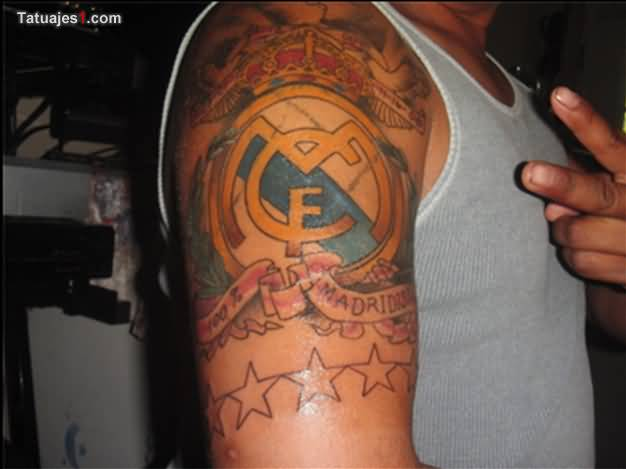 Amazing Stars And CF Real Madrid Tattoo On Upper Sleeve