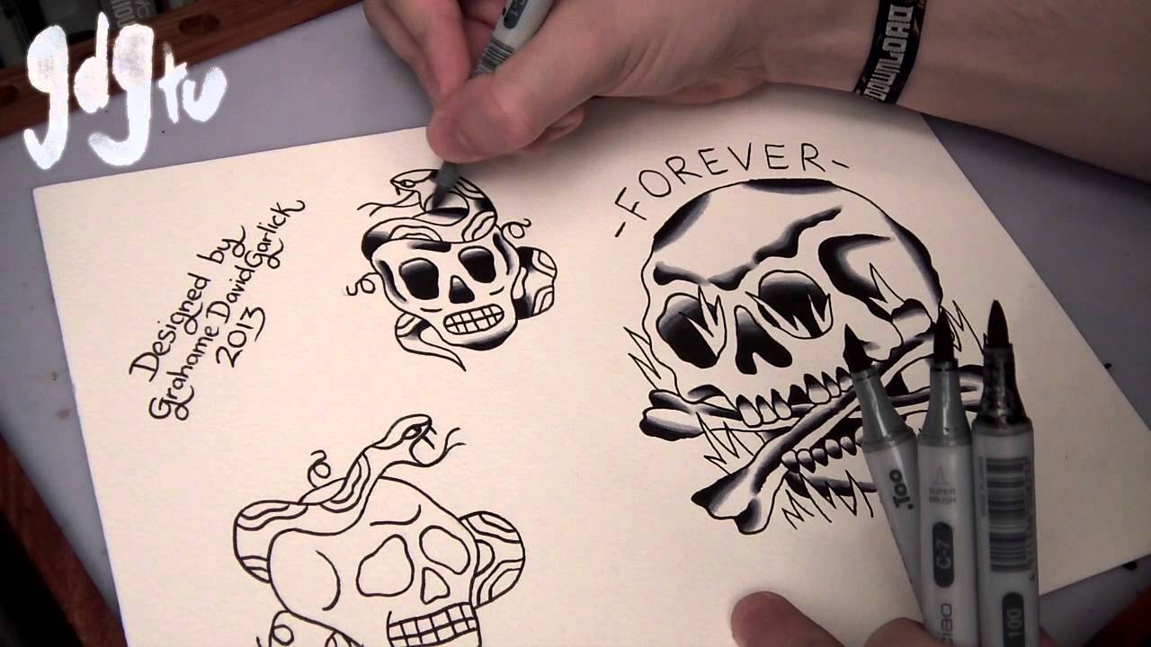 Amazing Stencil Of Old School Skull Tattoo