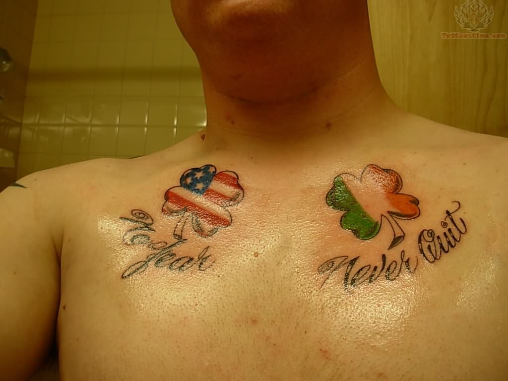American And Ireland Country Flags Shamrock Tattoo On Men Chest