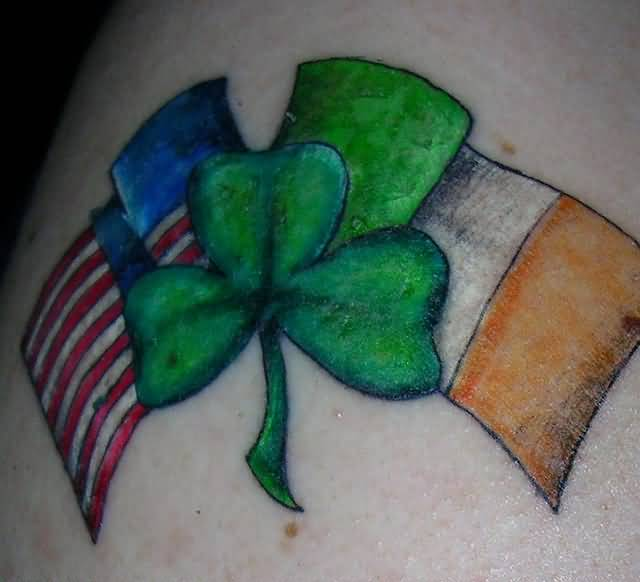 American And Ireland Flag Shamrock Tattoo Design