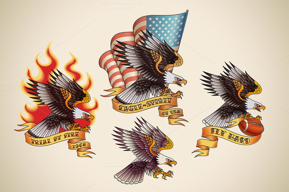 American Eagles Old School Stencil Tattoo Design