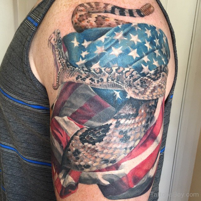 American Flag With Awesome Reptile Snake Tattoo On Half Sleeve