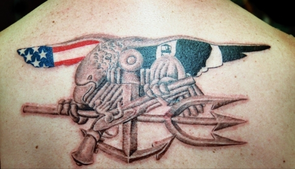 American Flag With Nice Navy Pistol Design With Upper Back Trishul Tattoo