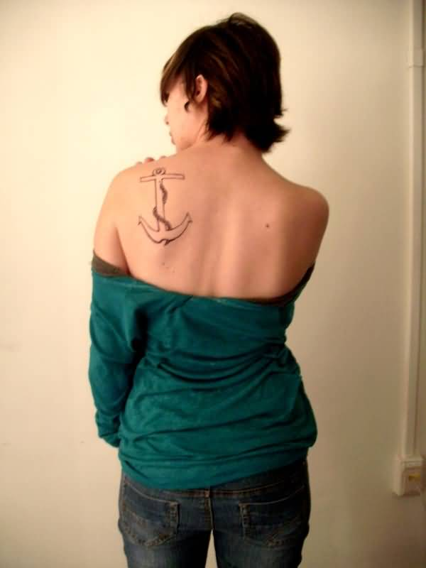 Anchor Navy Tattoo On Girl Back Shoulder