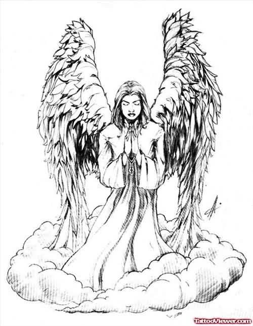 Angel Prayin In Clouds Tattoo Design Idea On Paper