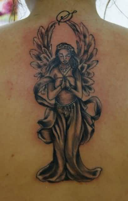 Angel Praying In Big Wings Tattoo Design Idea For Upper Back