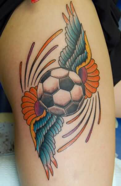 Angel Wings Amazing Football Tattoo On Thigh
